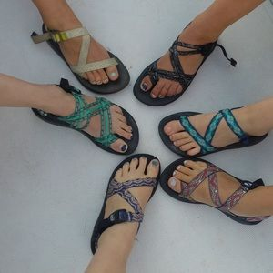 Three Strap Chaco Sandals with Toe Loop